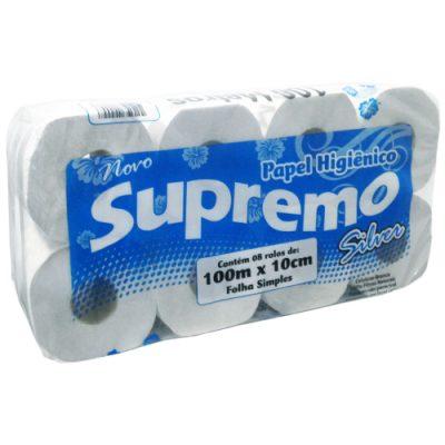 Papel Higiênico Folha Simples Supremo Silver 8 Rolos x 100 Metros