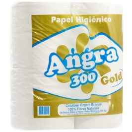 Papel Higiênico Folha Simples Angra Gold 8 Rolos x 300 Metros